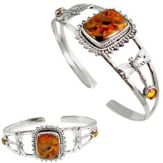 Natural brown pietersite citrine 925 silver dragonfly adjustable bangle h89259