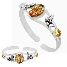 19.89cts natural golden tourmaline rutile 925 silver adjustable bangle p82638
