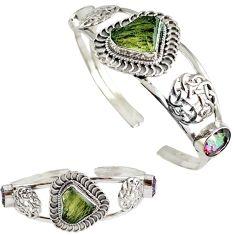Natural green moldavite (genuine czech) 925 silver adjustable bangle h89246