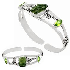 13.08cts natural green moldavite 925 silver adjustable bangle jewelry p82661