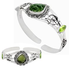 15.91cts natural green moldavite 925 silver adjustable bangle jewelry p82663