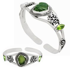 16.82cts natural green moldavite 925 silver adjustable bangle jewelry p82670