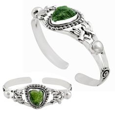 13.21cts natural green moldavite 925 silver adjustable bangle jewelry p82673