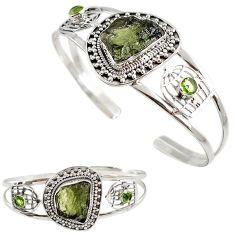 Natural green moldavite 925 sterling silver bird cage adjustable bangle h89250