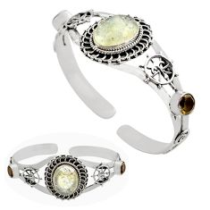 12.89cts natural libyan desert glass 925 silver adjustable bangle jewelry p82649