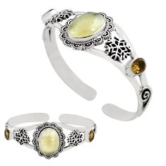 17.98cts natural libyan desert glass 925 silver adjustable bangle jewelry p82650
