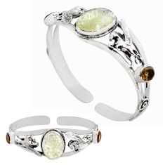 14.71cts natural libyan desert glass 925 silver adjustable bangle jewelry p82653