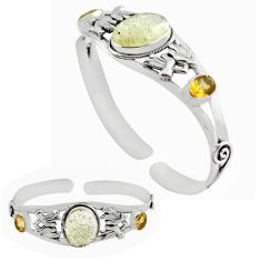 17.51cts natural libyan desert glass 925 silver adjustable bangle jewelry p82654