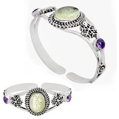 16.01cts natural libyan desert glass 925 silver adjustable bangle jewelry p82656