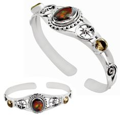 10.59cts natural multi color mexican fire agate silver adjustable bangle p82662