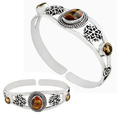 11.49cts natural multi color mexican fire agate silver adjustable bangle p82664
