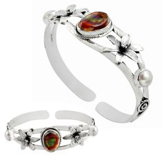 11.02cts natural multi color mexican fire agate silver adjustable bangle p82666