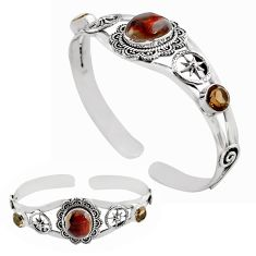 11.01cts natural multi color mexican fire agate silver adjustable bangle p82667