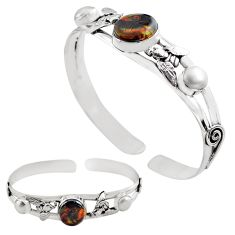 14.78cts natural multi color mexican fire agate silver adjustable bangle p82668