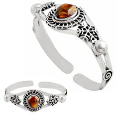 12.88cts natural multi color mexican fire agate silver adjustable bangle p82677