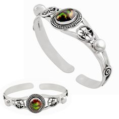 11.92cts natural multi color mexican fire agate silver adjustable bangle p82678