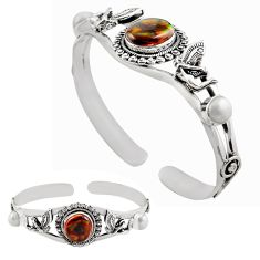 13.35cts natural multi color mexican fire agate silver adjustable bangle p82679