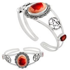 21.03cts natural multi color mexican fire opal silver adjustable bangle p82641