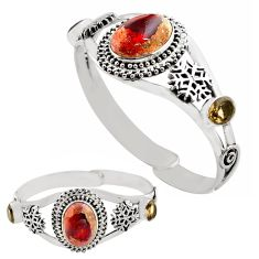 16.55cts natural multi color mexican fire opal silver adjustable bangle p82642