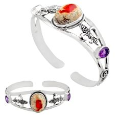 19.85cts natural multi color mexican fire opal silver adjustable bangle p82643