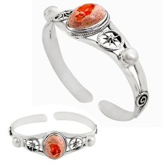 18.23cts natural multicolor mexican fire opal silver adjustable bangle p82646
