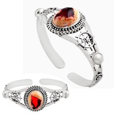 20.72cts natural multicolor mexican fire opal silver adjustable bangle p82647