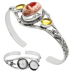 20.67cts natural multicolor mexican fire opal silver adjustable bangle p89003