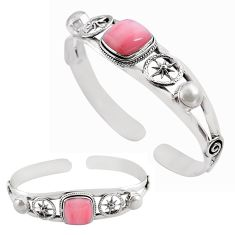 13.22cts natural pink opal pearl 925 sterling silver adjustable bangle p82601