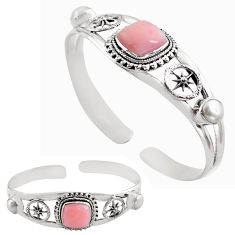 14.02cts natural pink opal pearl 925 sterling silver adjustable bangle p82602