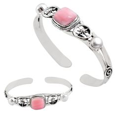 12.93cts natural pink opal pearl 925 sterling silver adjustable bangle p82603