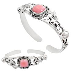 15.88cts natural pink opal pearl 925 sterling silver adjustable bangle p82606