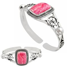 18.92cts natural pink rhodochrosite inca rose silver adjustable bangle p82682