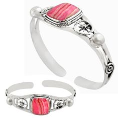 18.80cts natural pink rhodochrosite inca rose silver adjustable bangle p82685