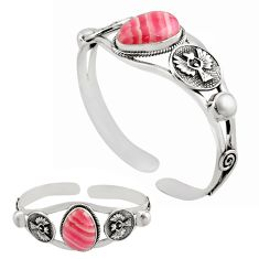 20.23cts natural pink rhodochrosite inca rose silver adjustable bangle p82686