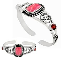 16.28cts natural pink rhodochrosite inca rose silver adjustable bangle p82687