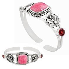 20.02cts natural pink rhodochrosite inca rose silver adjustable bangle p82689