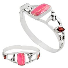 16.43cts natural pink rhodochrosite inca rose silver adjustable bangle p82690