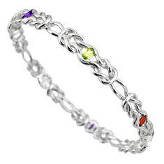4.42cts natural purple amethyst peridot 925 sterling silver bangle jewelry c5541