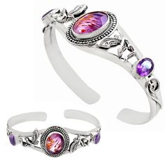 18.92cts natural purple cacoxenite super seven silver adjustable bangle p82695