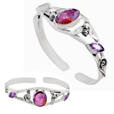 15.20cts natural purple cacoxenite super seven silver adjustable bangle p82699