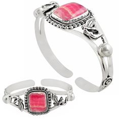 21.63cts natural rhodochrosite inca rose 925 silver adjustable bangle p82681