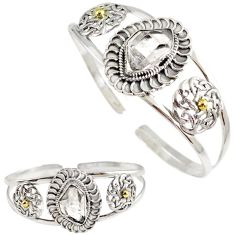 Natural white herkimer diamond 925 silver 14k gold adjustable bangle h89224