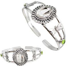 Natural white herkimer diamond 925 silver dragonfly adjustable bangle h89223