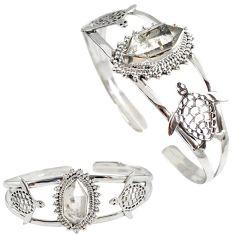 Natural white herkimer diamond 925 silver tortoise adjustable bangle h89222