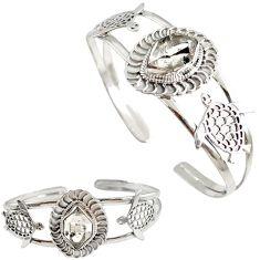 Natural white herkimer diamond 925 silver tortoise adjustable bangle h89225
