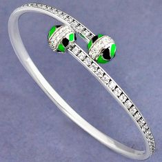 NATURAL WHITE TOPAZ 925 STERLING SILVER ADJUSTABLE BANGLE JEWELRY H30890