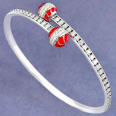 NATURAL WHITE TOPAZ 925 STERLING SILVER ADJUSTABLE BANGLE JEWELRY H30891