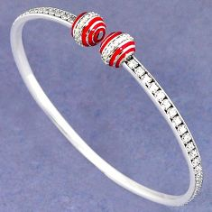 NATURAL WHITE TOPAZ 925 STERLING SILVER ADJUSTABLE BANGLE JEWELRY H30893