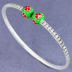 NATURAL WHITE TOPAZ 925 STERLING SILVER FLOWER ADJUSTABLE BANGLE JEWELRY H30899
