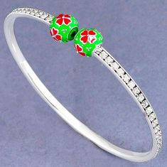 NATURAL WHITE TOPAZ 925 STERLING SILVER FLOWER ADJUSTABLE BANGLE JEWELRY H30900